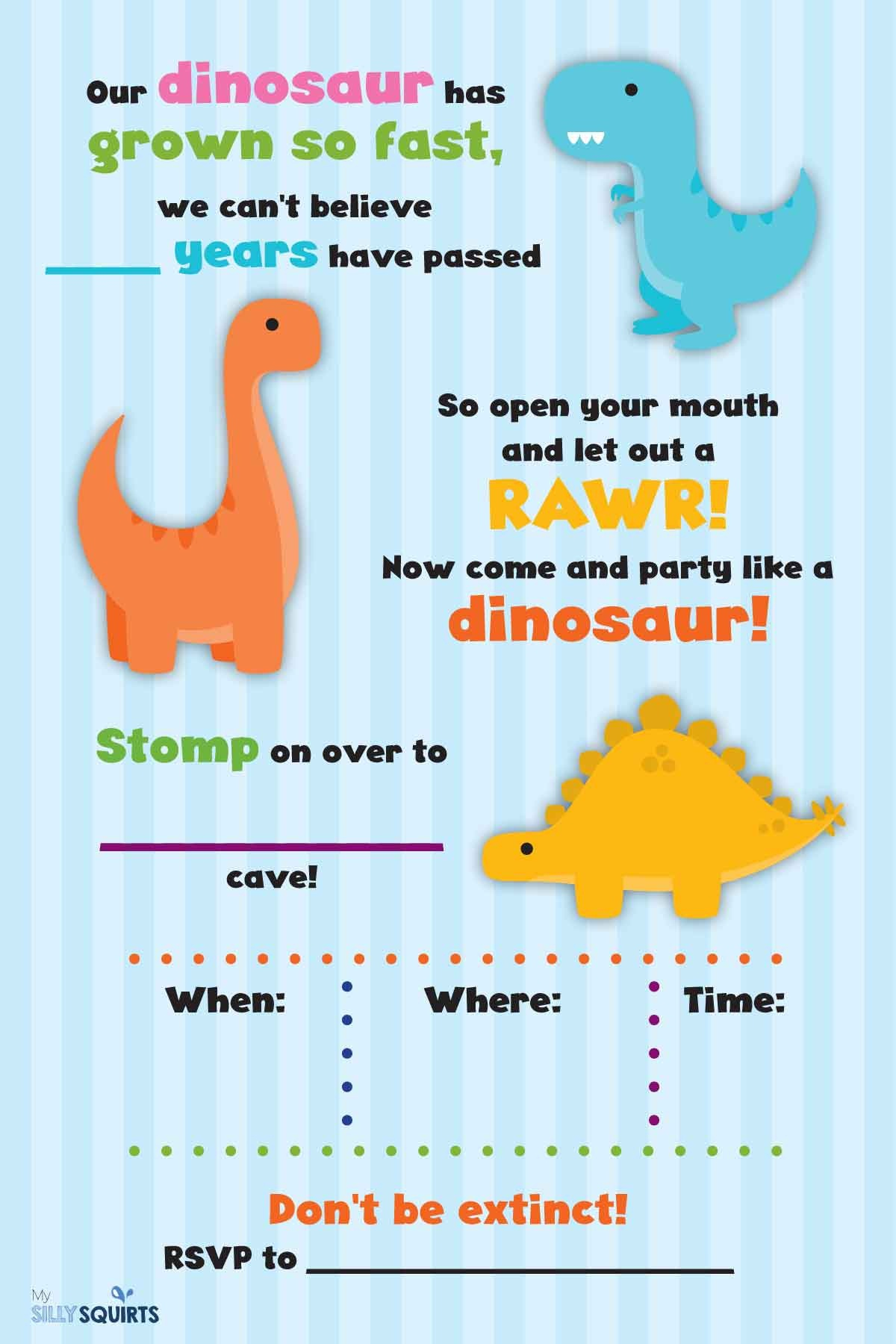 Rawr! Free Dinosaur Birthday Party Printables | My Silly Squirts - Free Printable Dinosaur Labels
