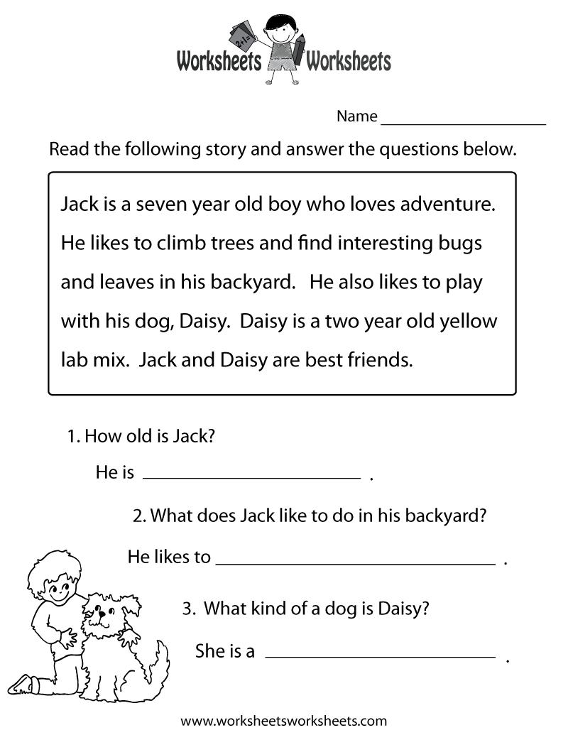 Reading Comprehension Practice Worksheet | Education | 1St Grade - Free Printable Grade 1 Reading Comprehension Worksheets