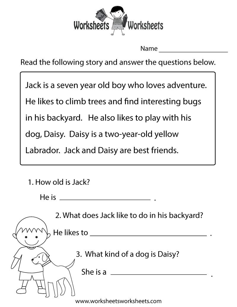 Reading Comprehension Practice Worksheet Printable | Joys Of - Free Printable English Reading Worksheets For Kindergarten