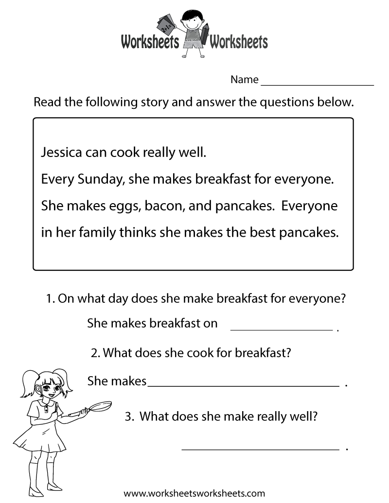 Reading Comprehension Test Worksheet Printable   Reading   Free - Free Printable Groundhog Day Reading Comprehension Worksheets