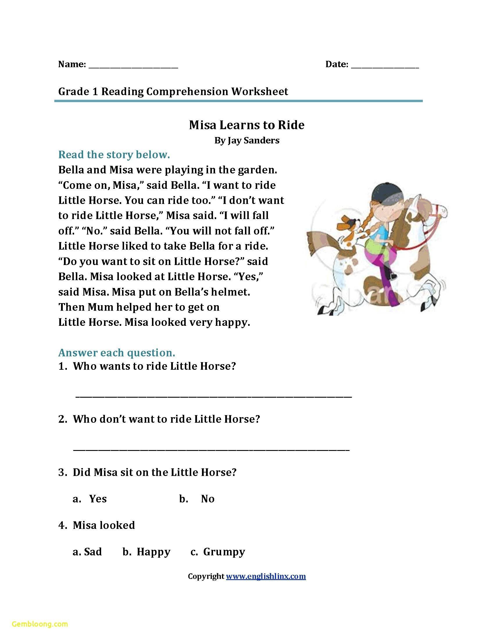 Reading Comprehension Worksheets For 1St Grade - Cramerforcongress - Free Printable Grade 1 Reading Comprehension Worksheets