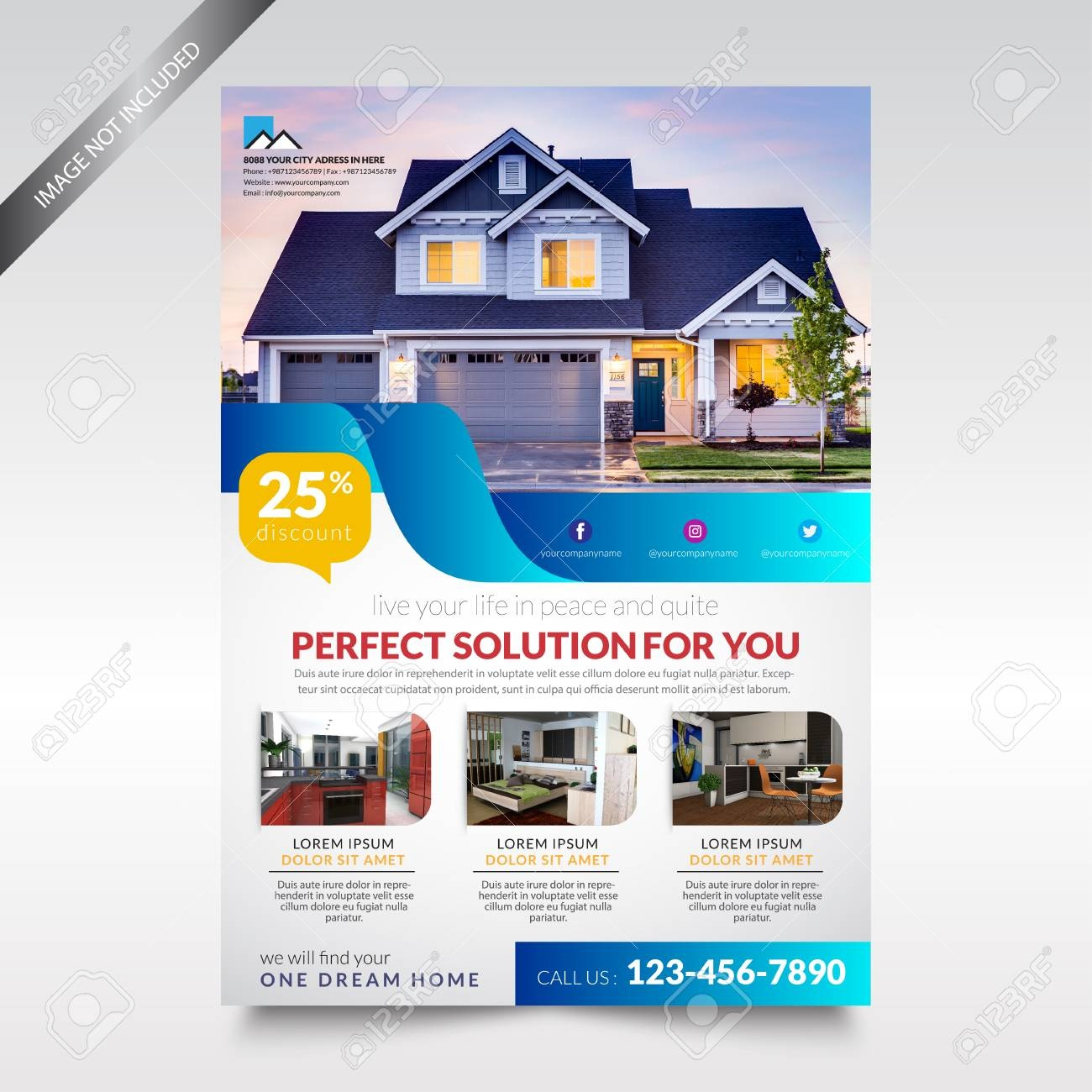 Real Estate Flyer Template , Brochure Design Royalty Free Cliparts - Free Printable Real Estate Flyer Templates