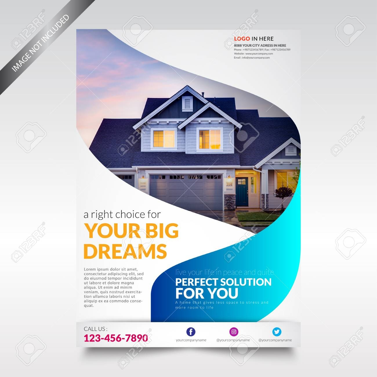 Real Estate Flyer Template, Brochure With Shape Royalty Free - Free Printable Real Estate Flyer Templates