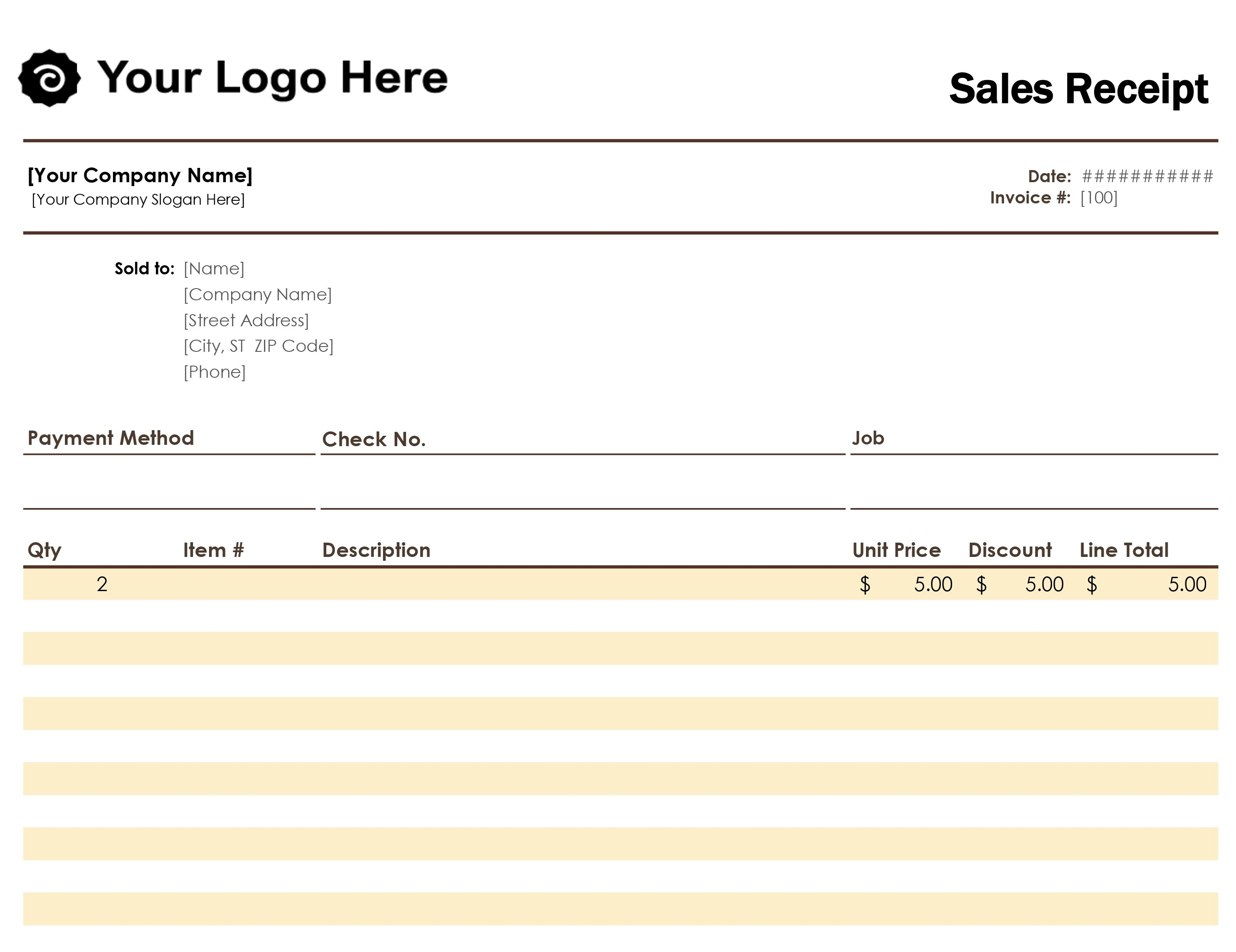 Receipts - Office - Free Printable Sales Receipt Form