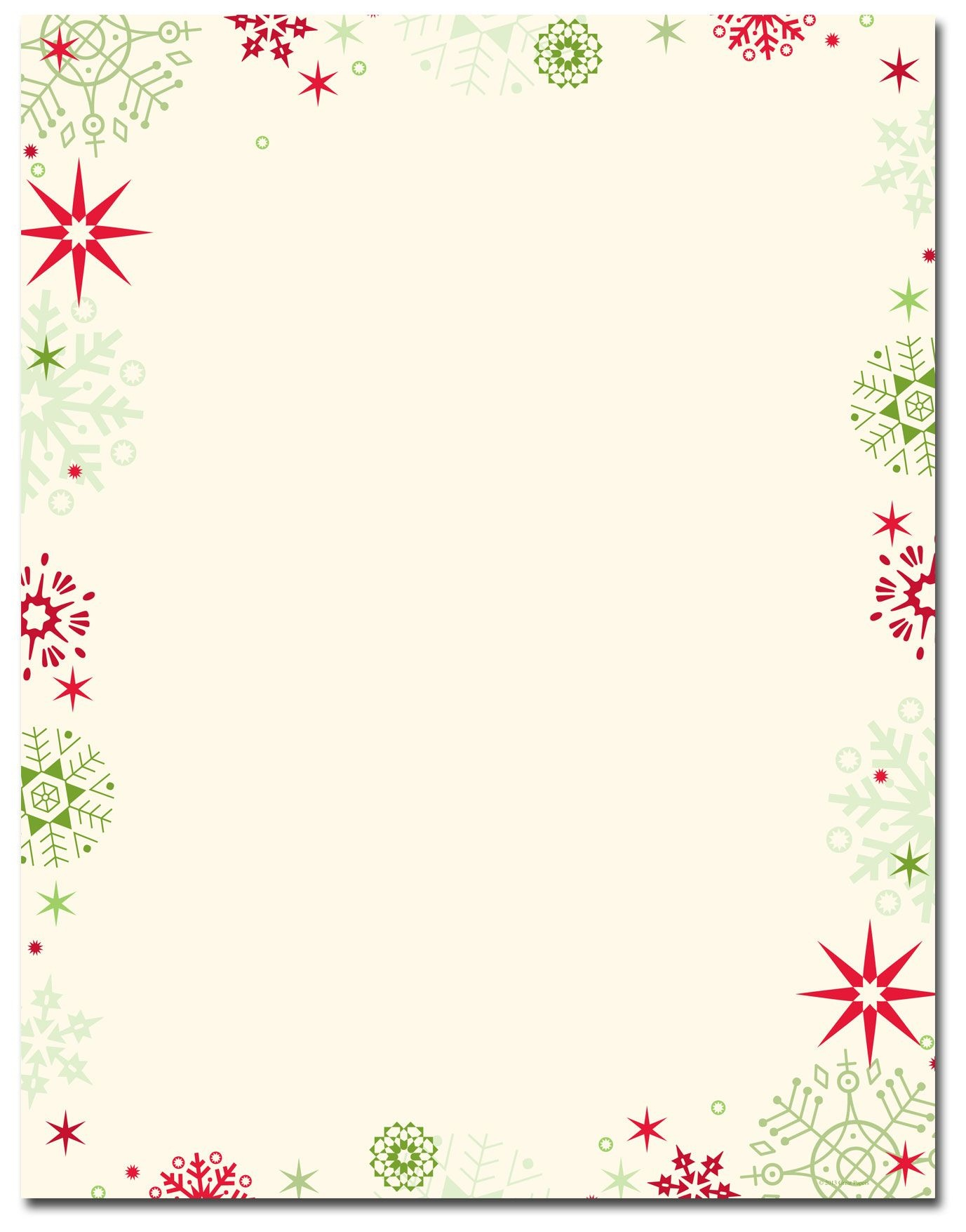 Red & Green Flakes Letterhead   Holiday Papers   Christmas - Free Printable Christmas Stationary Paper