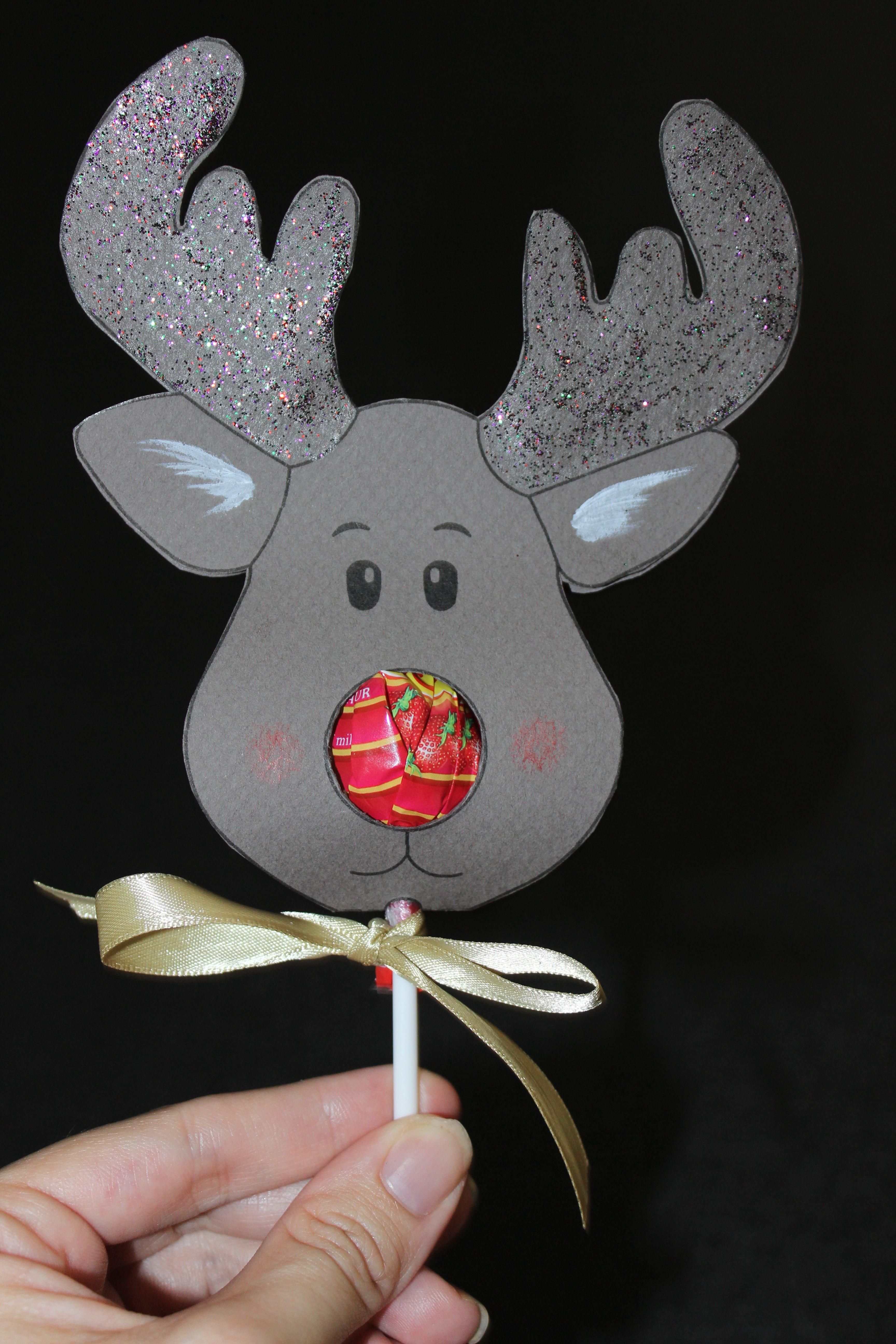Reindeer Lollipop Card Tutorial | Christmas Ideas | Christmas - Free Printable Reindeer Lollipop Template