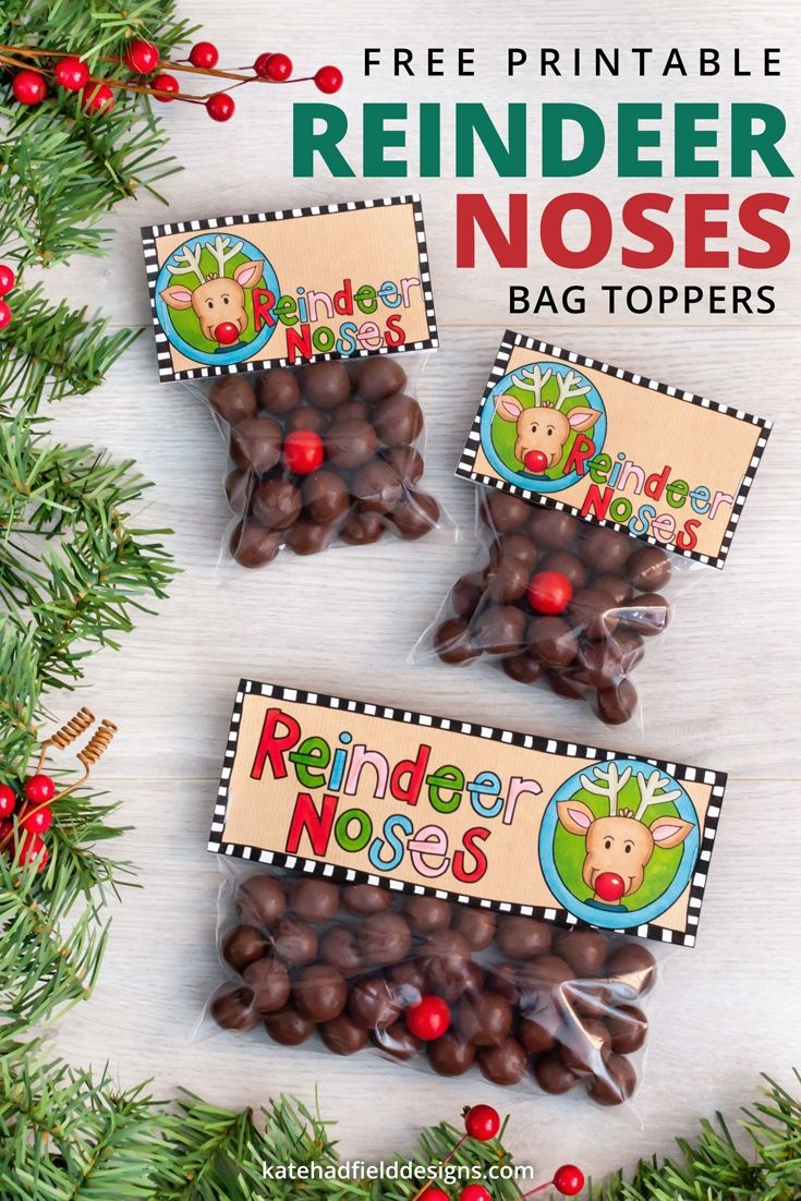 Reindeer Noses Printable Christmas Bag Toppers | Holiday Classroom - Free Printable Christmas Bag Toppers