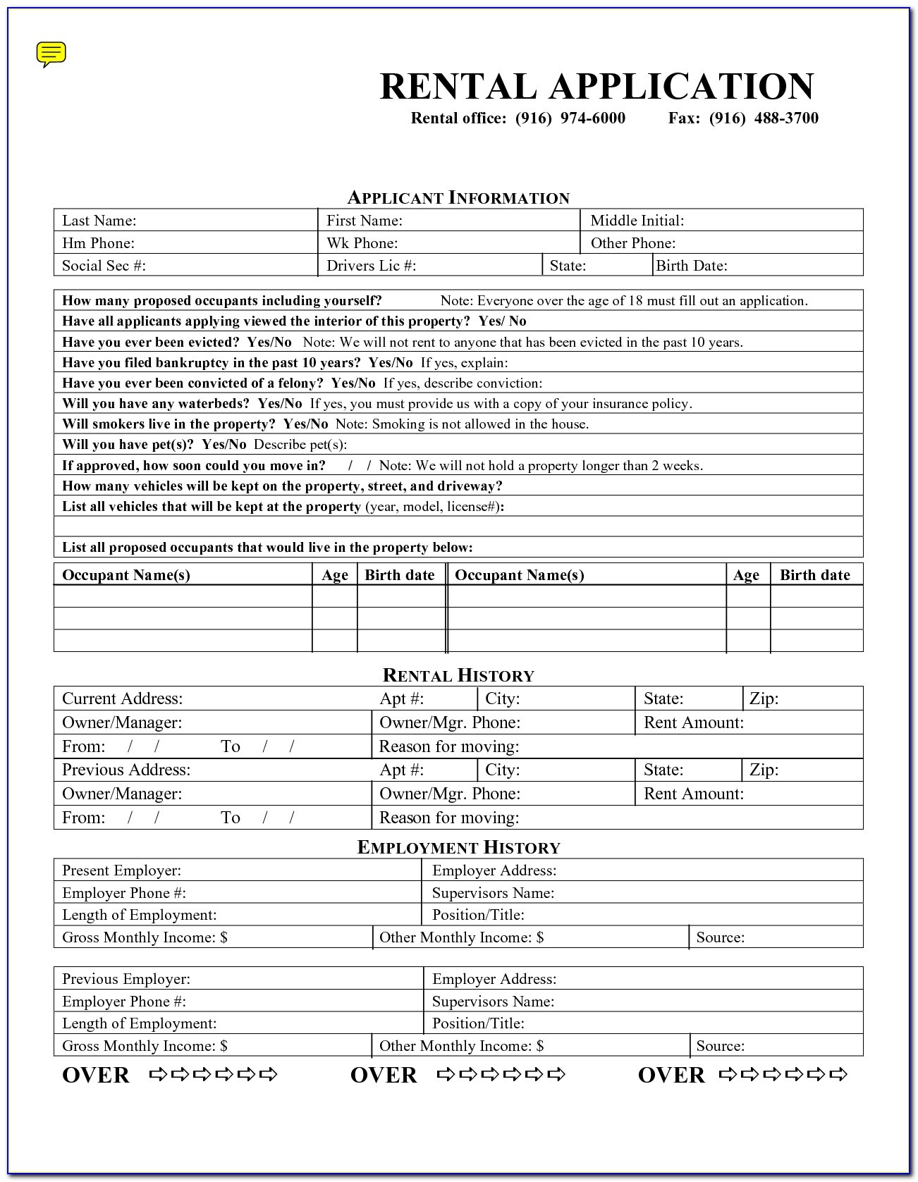 Rental Application Forms Free Printable - Form : Resume Examples - Free Printable Forms