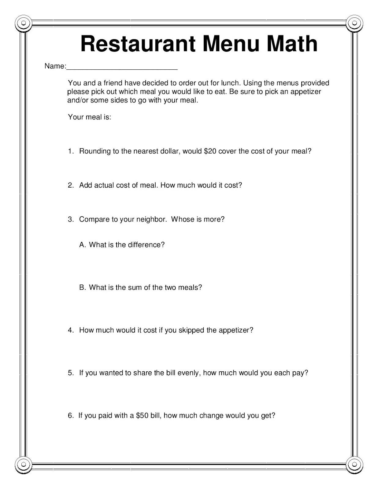 Restaurant Menu Math Freebie   Things For My Classroom   Elementary - Free Printable Menu Math Worksheets