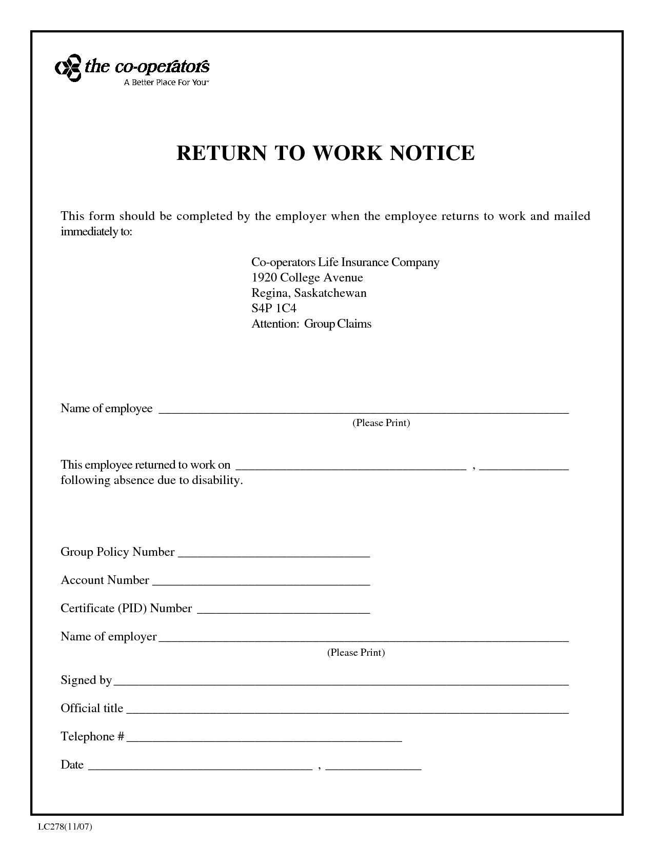 Return To Work Slip Template - Tutlin.psstech.co - Free Printable Doctor Excuse Slips