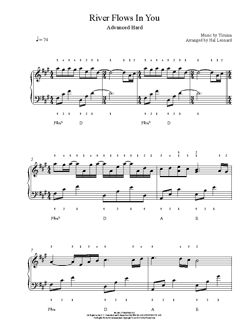 River Flows In Youyiruma Piano Sheet Music   Advanced Level - Free Printable Sheet Music For Piano