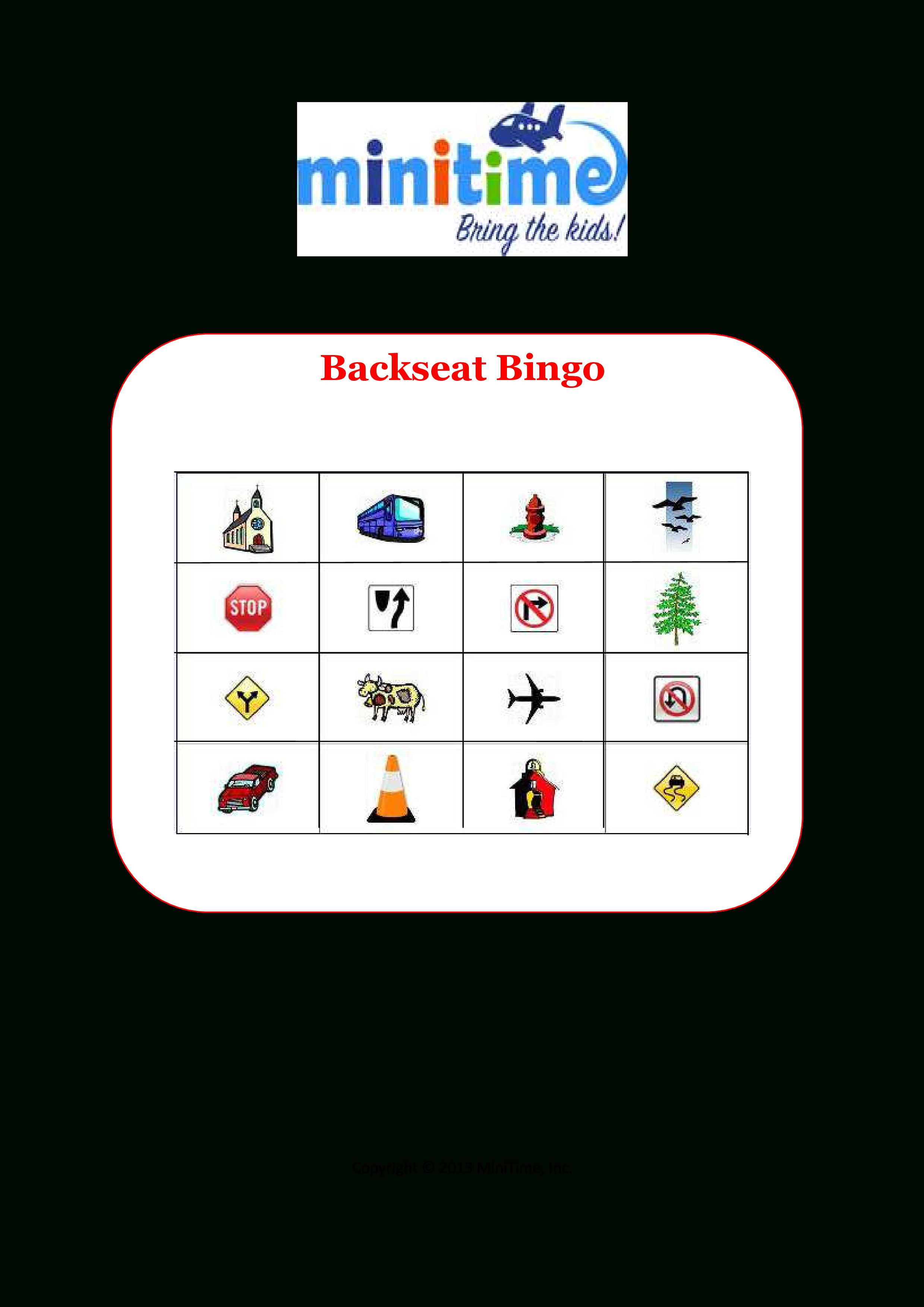 Road Trip Bingo   Free Printable Car Games For Kids   Minitime - Free Printable Car Ride Games