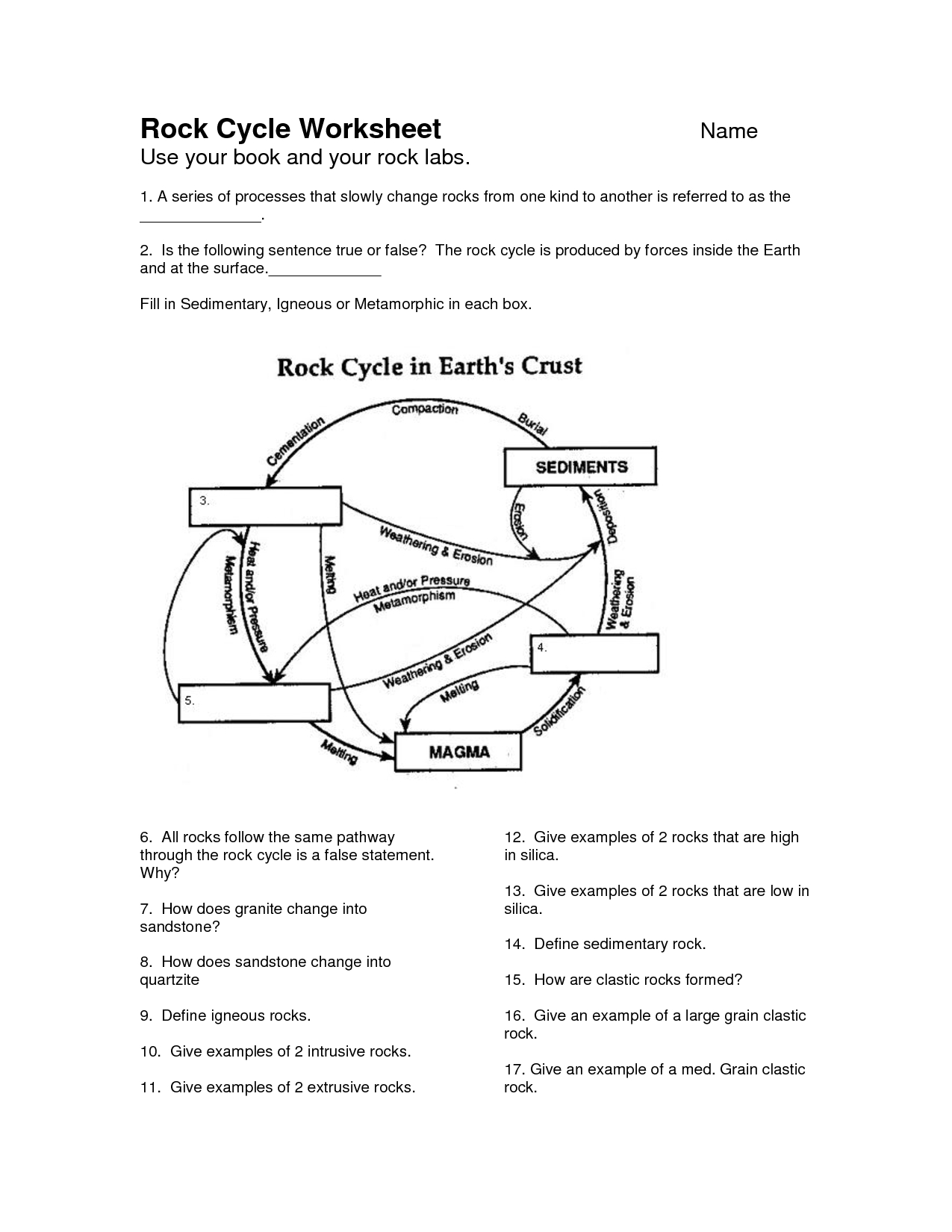 Rock Cycle Worksheet - Google Search | Earth Science | Rock Cycle - Rock Cycle Worksheets Free Printable