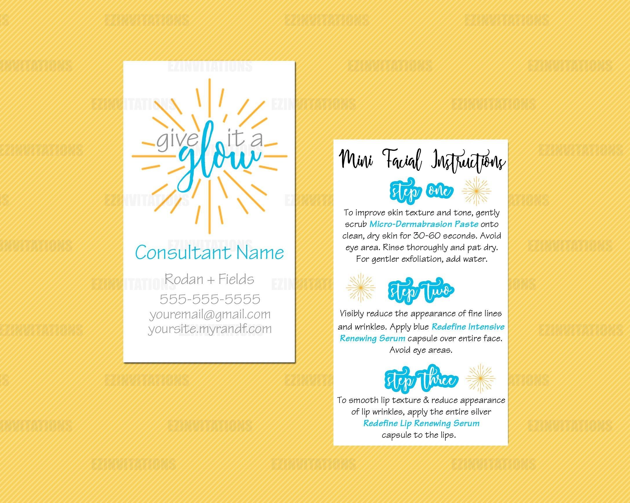 Rodan And Fields Mini Facial Card Rf Mini Facial | Etsy - Rodan And - Rodan And Fields Mini Facial Instructions Printable Free