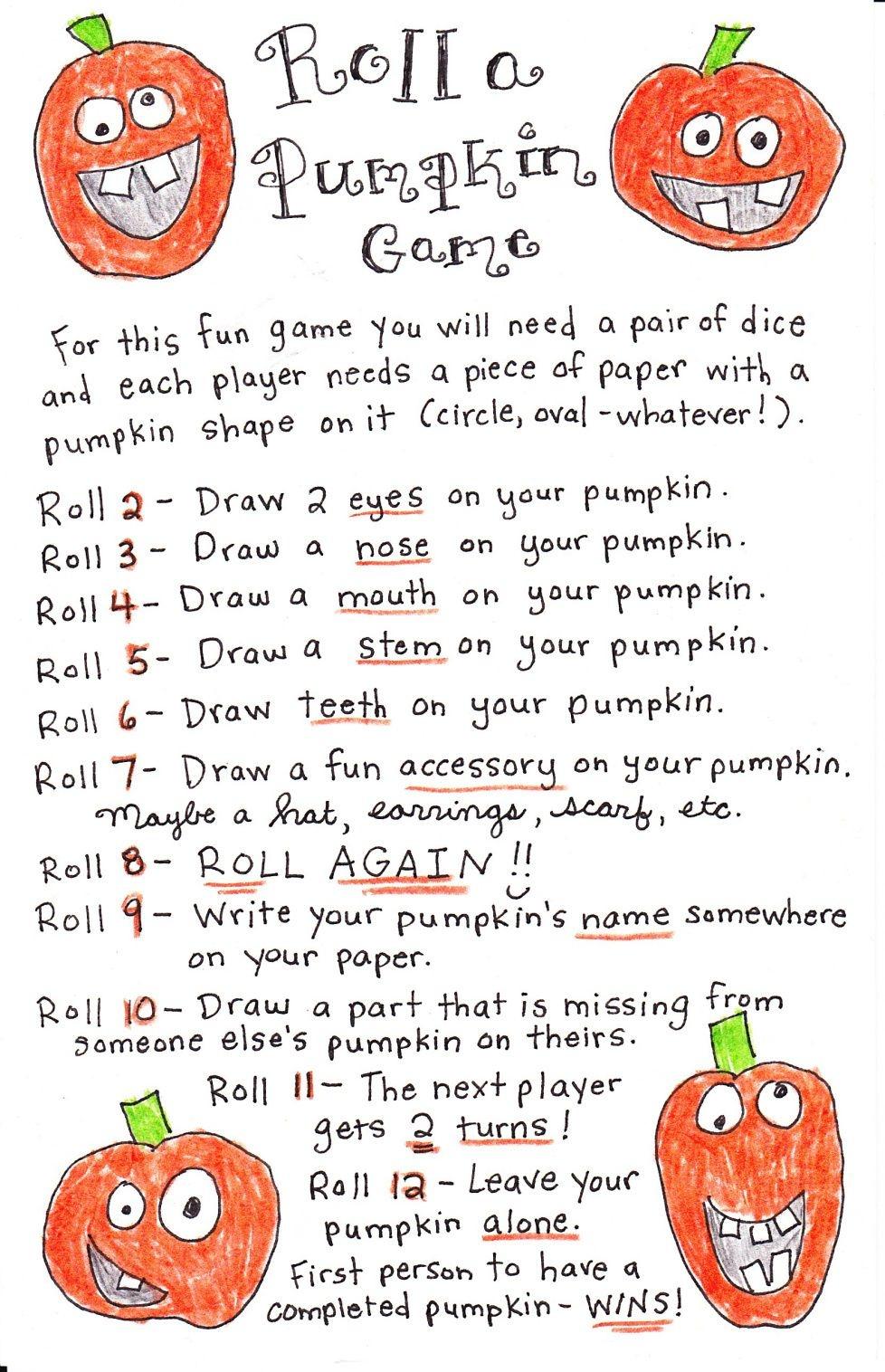 Roll A Pumpkin Game - Free Printable | Kid Fun | Halloween Games - Free Printable Halloween Games For Kids