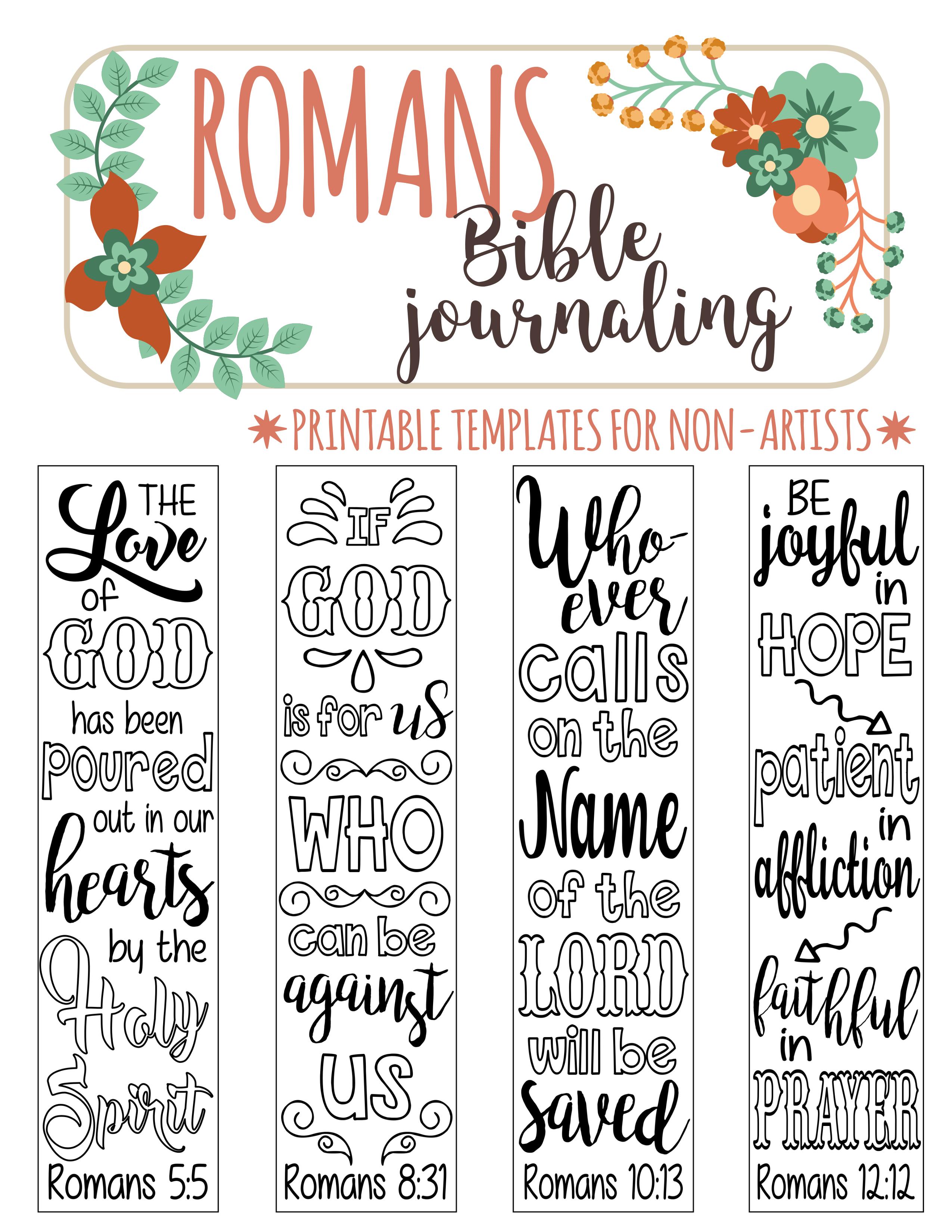 Romans - 4 Bible Journaling Printable Templates, Illustrated - Free Printable Bible Bookmarks Templates