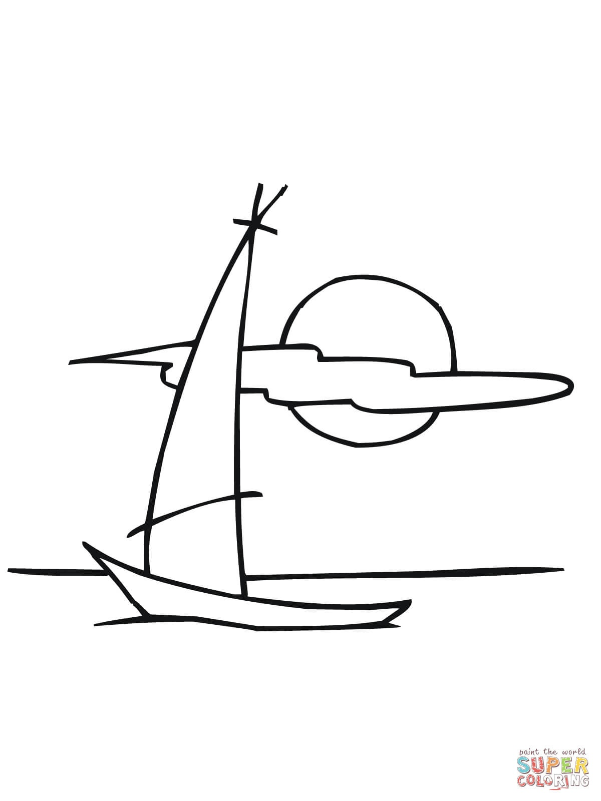Sailing Dinghy Boat Coloring Page | Free Printable Coloring Pages - Free Printable Sailboat Template