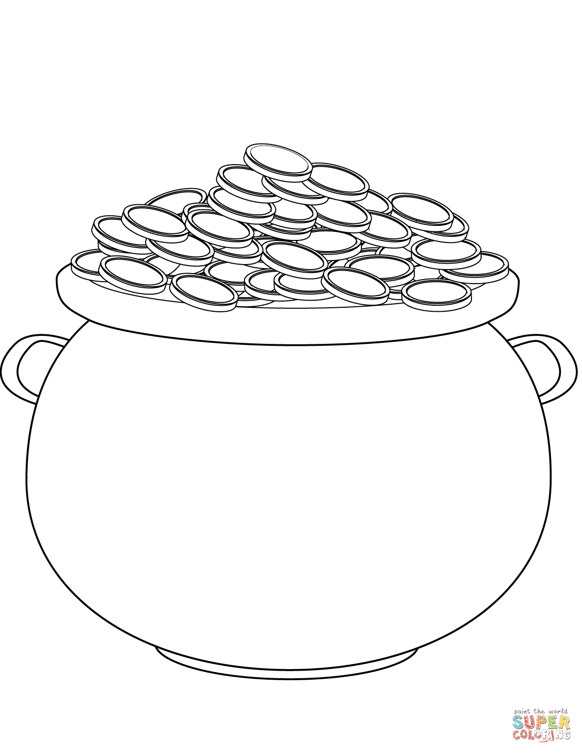 Saint Patrick's Day Pot Of Gold Coloring Page   Free Printable - Free Printable Pot Of Gold Coloring Pages