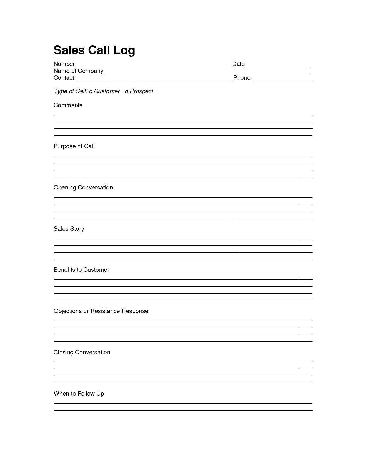 Sales Log Sheet Template | Sales Call Log Template | Call Log - Free Printable Message Sheets