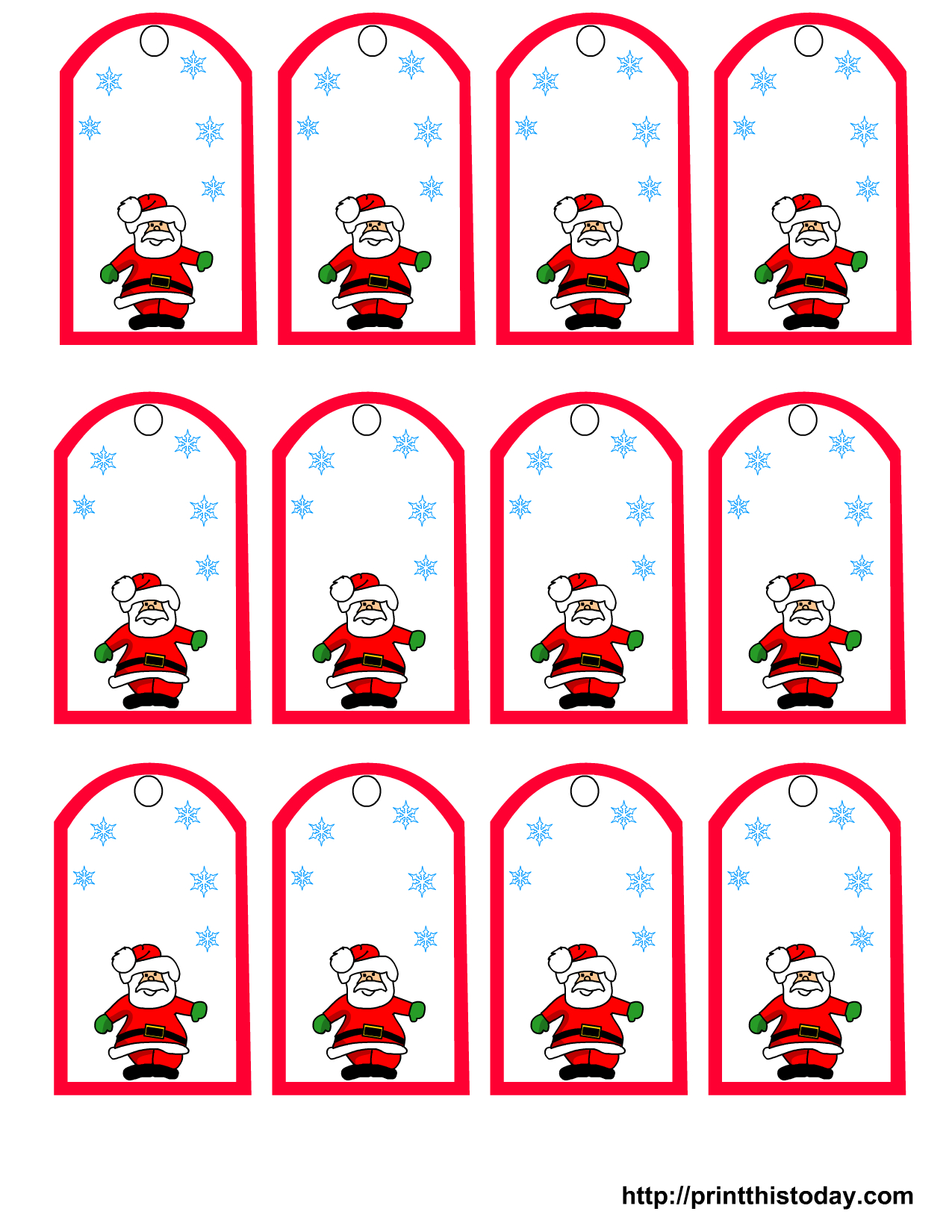 Santa Claus And Snowflakes, Free Printable Christmas Gift Tags - Christmas Labels Free Printable Templates