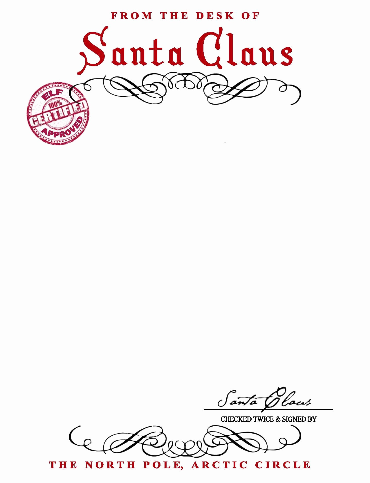 Santa Claus Letterhead Template Free 7 Best Images Of Printable - Free Santa Templates Printable