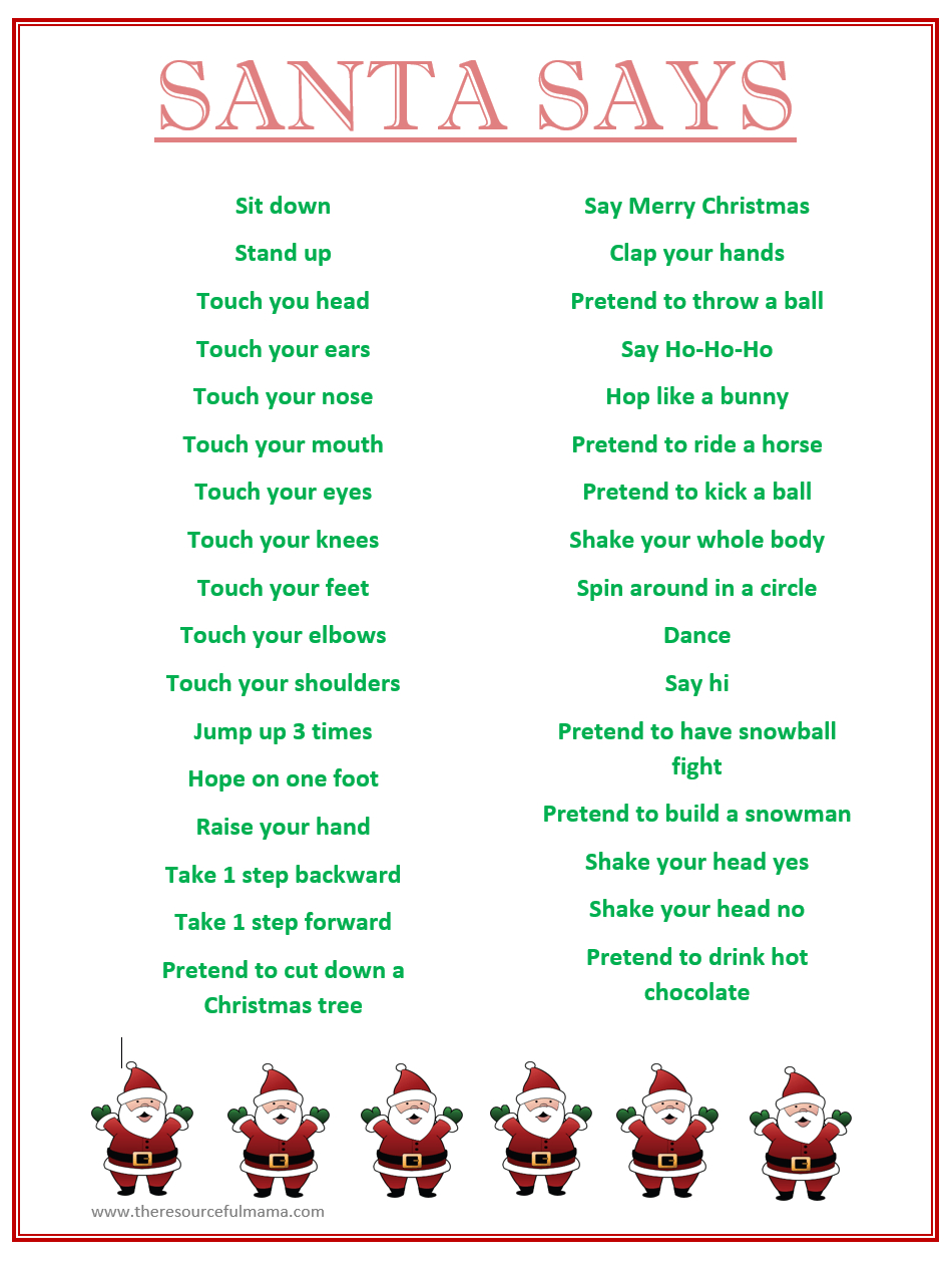 Santa Says Game For Christmas Parties {Free Printable}   Kid Blogger - Free Printable Christmas Games For Family Gatherings