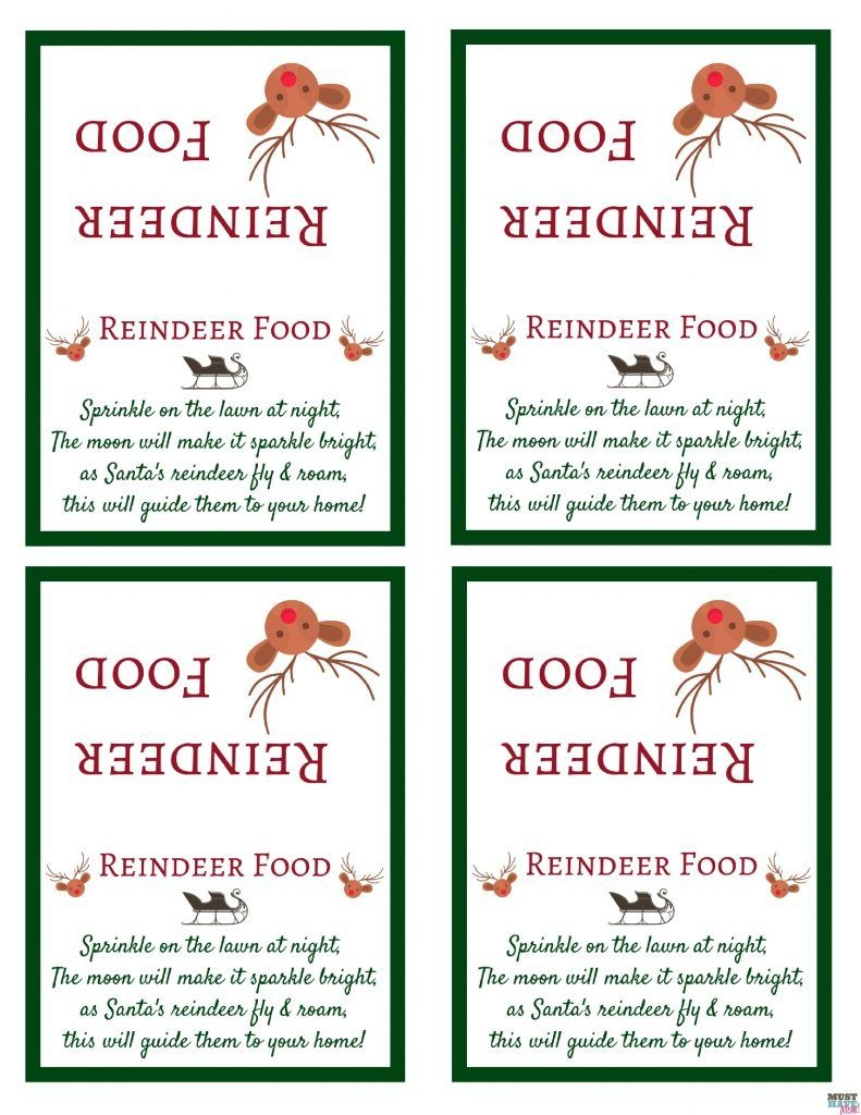 Santa's Magic Reindeer Food With Free Printable Bag Topper & Poem - Reindeer Food Poem Free Printable