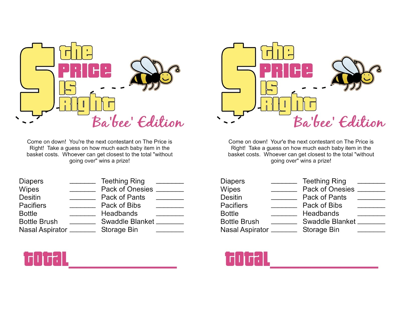 Sassy Sanctuary: Ba'bee' Shower Week- The Games! (Free Printables) - Over The Hill Games Free Printable