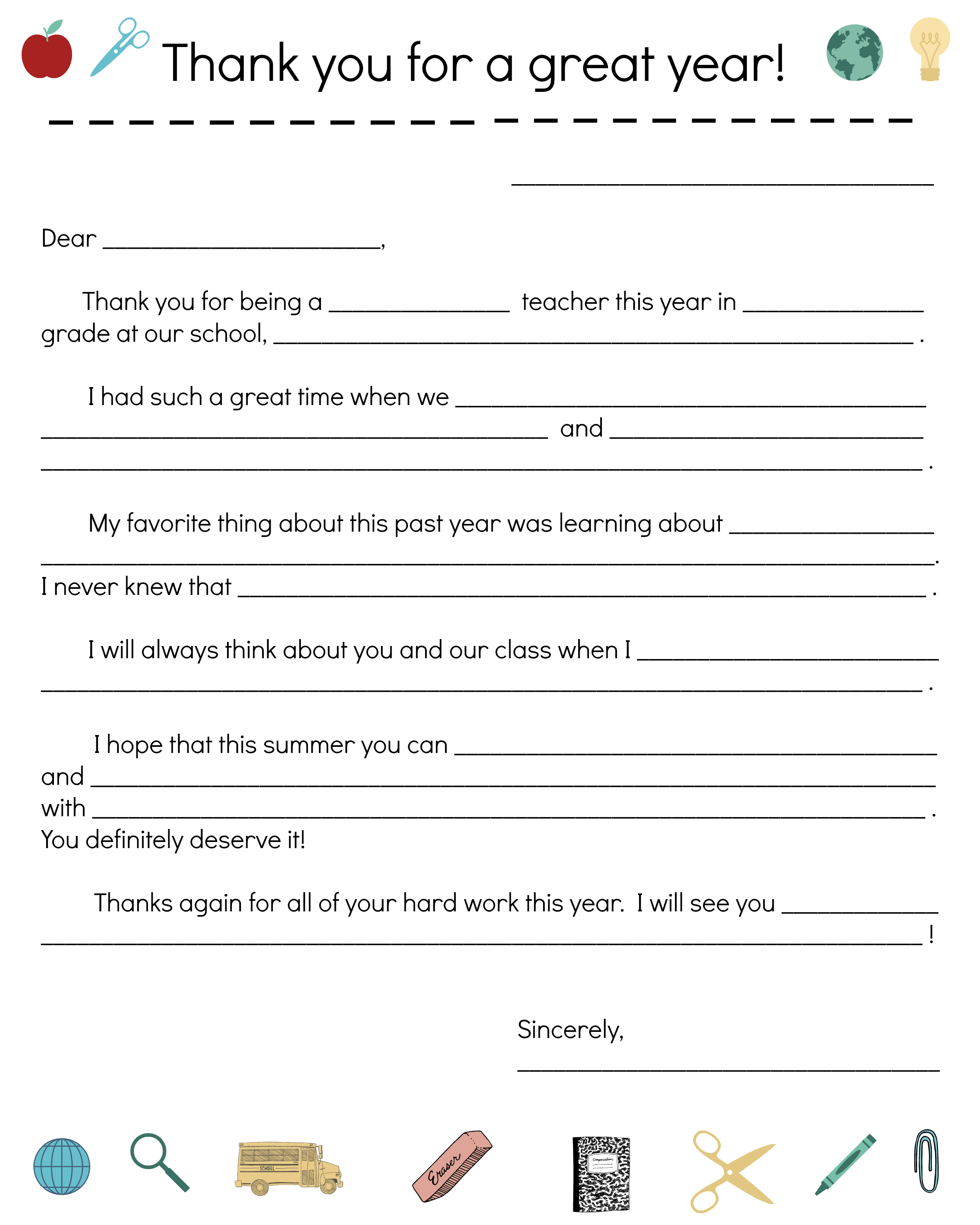 Say Thanks To Teachers With A Fill-In Note From Your Child - Free Printable Teacher Notes To Parents