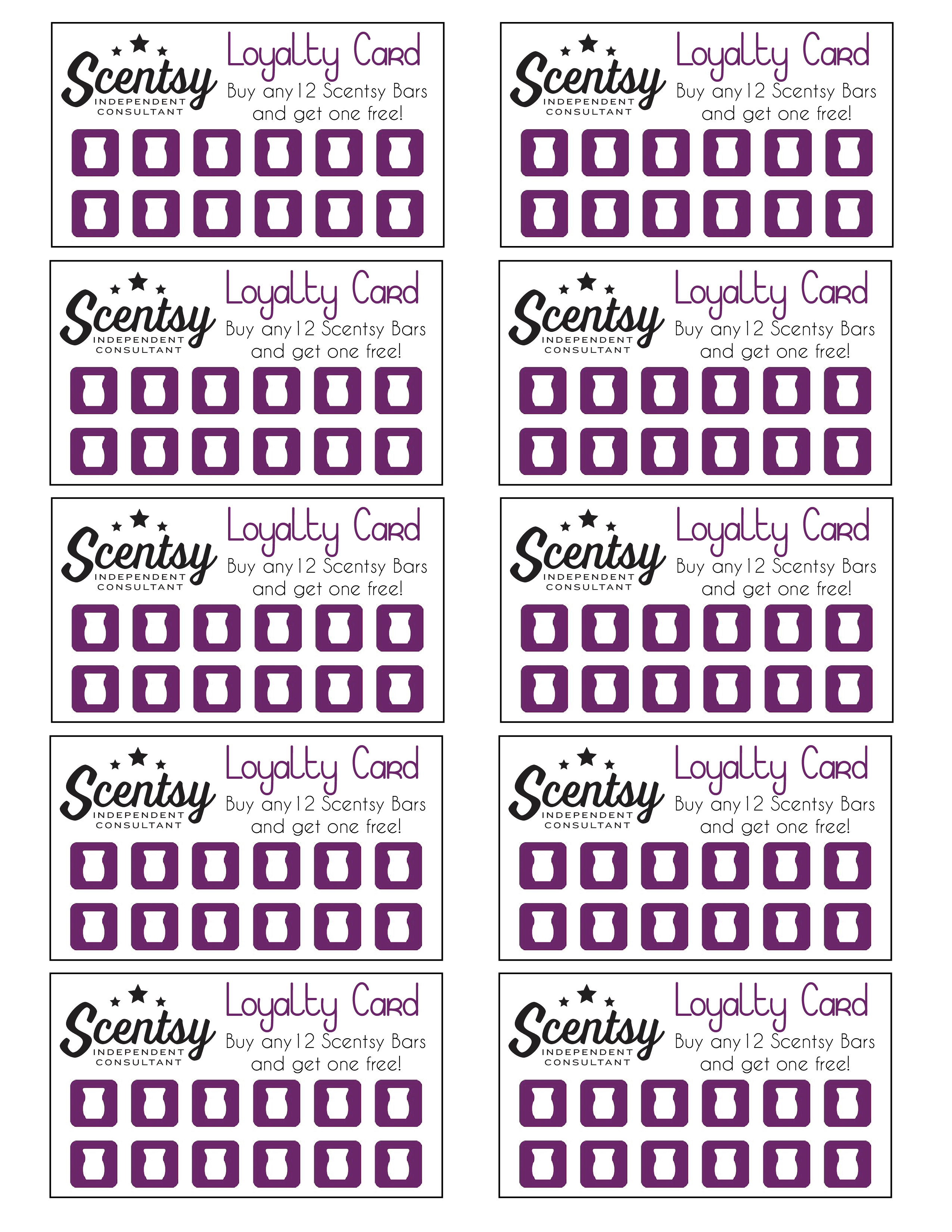 Scentsy Loyalty Card …   Scentsy In 2019… - Free Printable Scentsy Business Cards