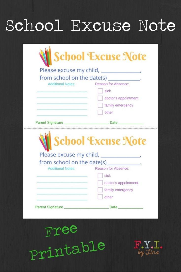 School Excuse Note - Free Printable • Fyitina   Back To School - Free Printable School Notes