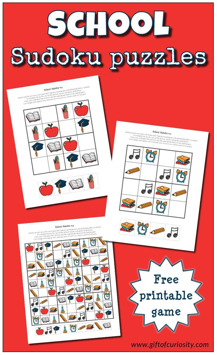 School Sudoku Puzzles {Free Printables} - Gift Of Curiosity - Free Printable I Spy Puzzles