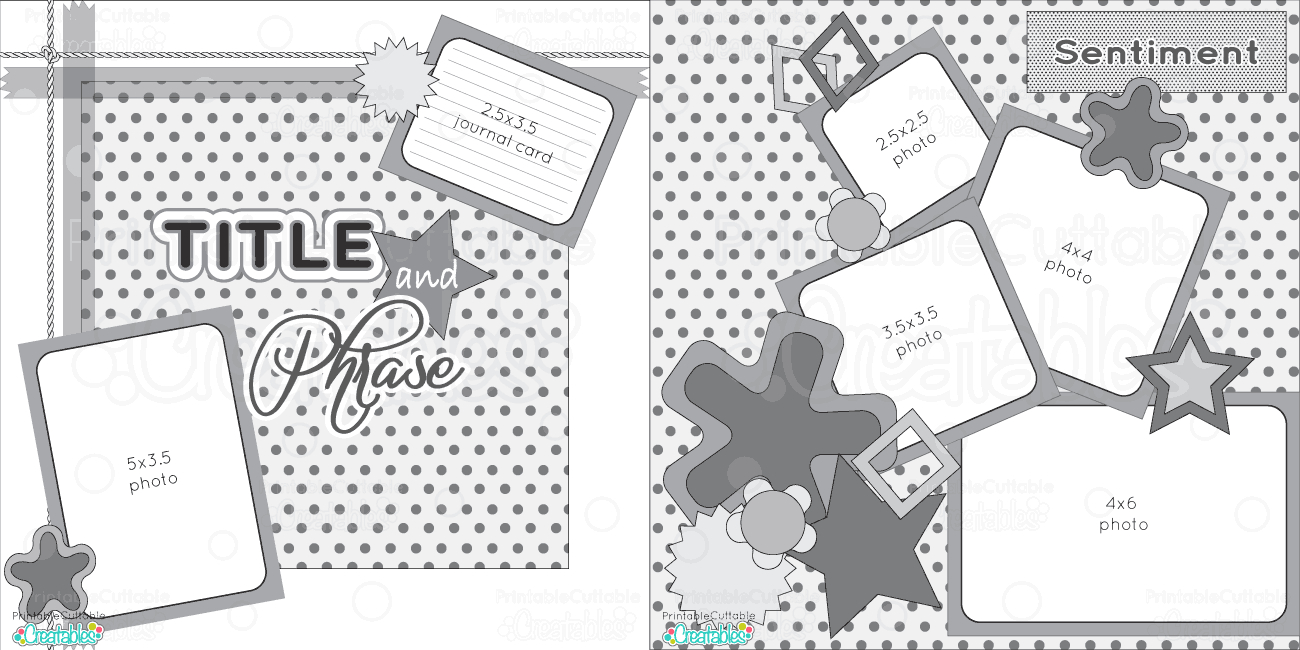 Scrapbook Layouts - Printable Cuttable Creatables - Free Printable Scrapbook Pages