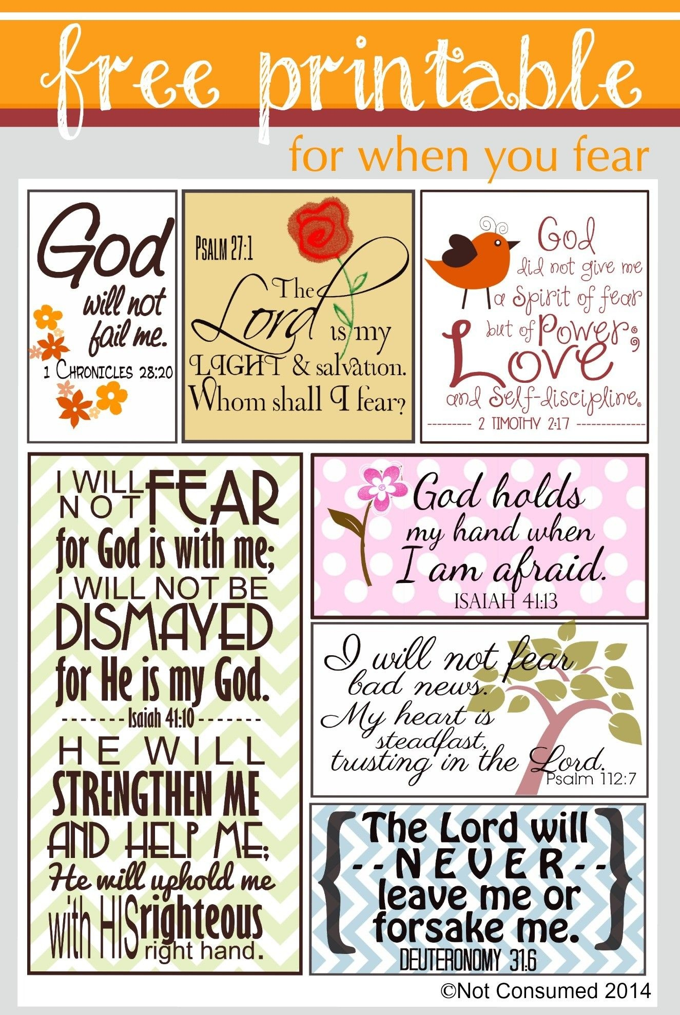 Scripture For When You Are Fearful | Bannie's Bible Journaling - Free Printable Christian Cards Online