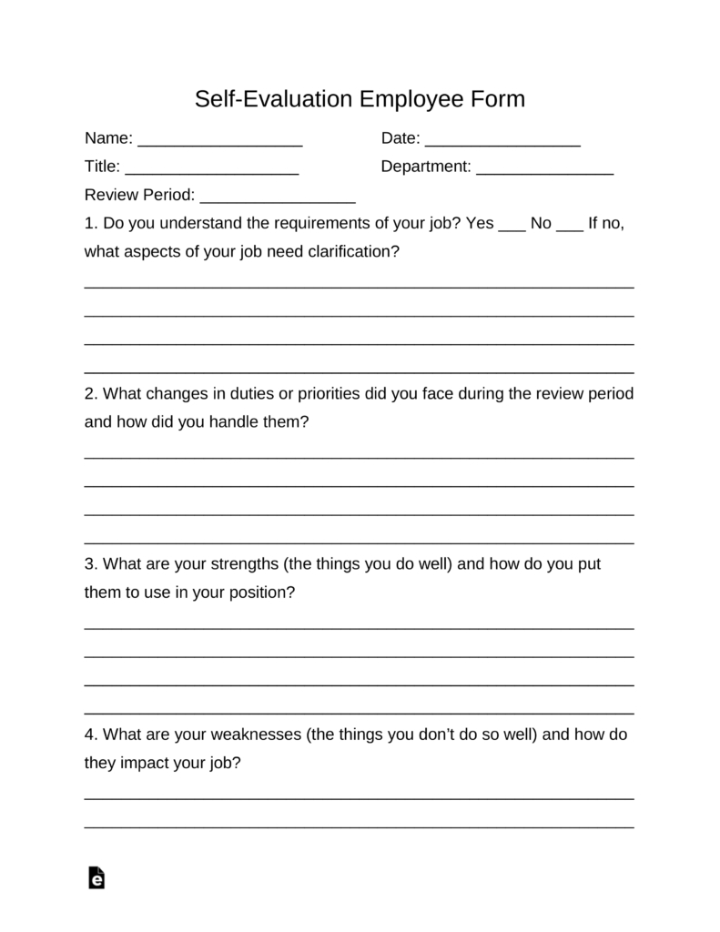 Self-Evaluation Employee Form   Eforms – Free Fillable Forms - Free Employee Self Evaluation Forms Printable