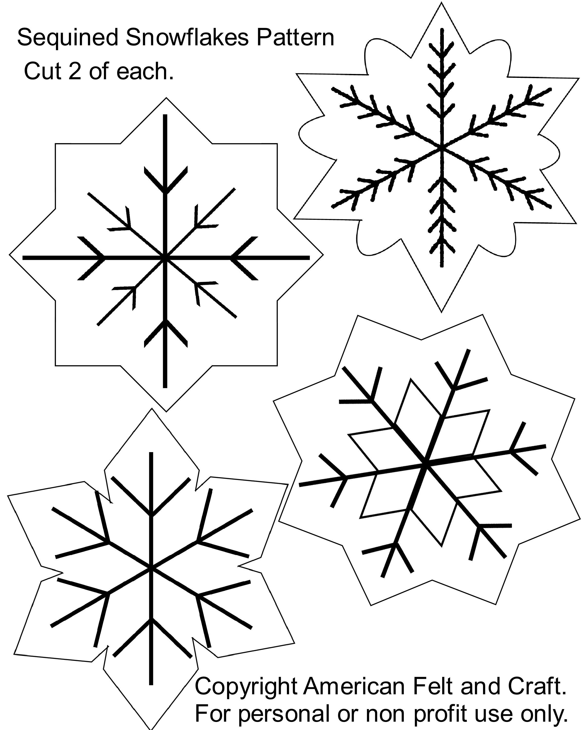 Sequin Snowflakes Felt Christmas Ornament Pattern | Felt Board - Free Printable Felt Christmas Ornament Patterns