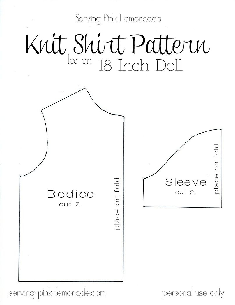 Serving Pink Lemonade: How To Sew A Shirt For An 18 Inch Doll - Free - 18 Inch Doll Clothes Patterns Free Printable