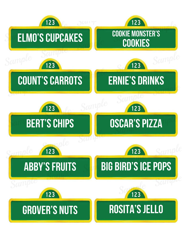 Sesame Street Food Labels Name Tag Printable Elmo Abby   Etsy - Free Printable Sesame Street Food Labels
