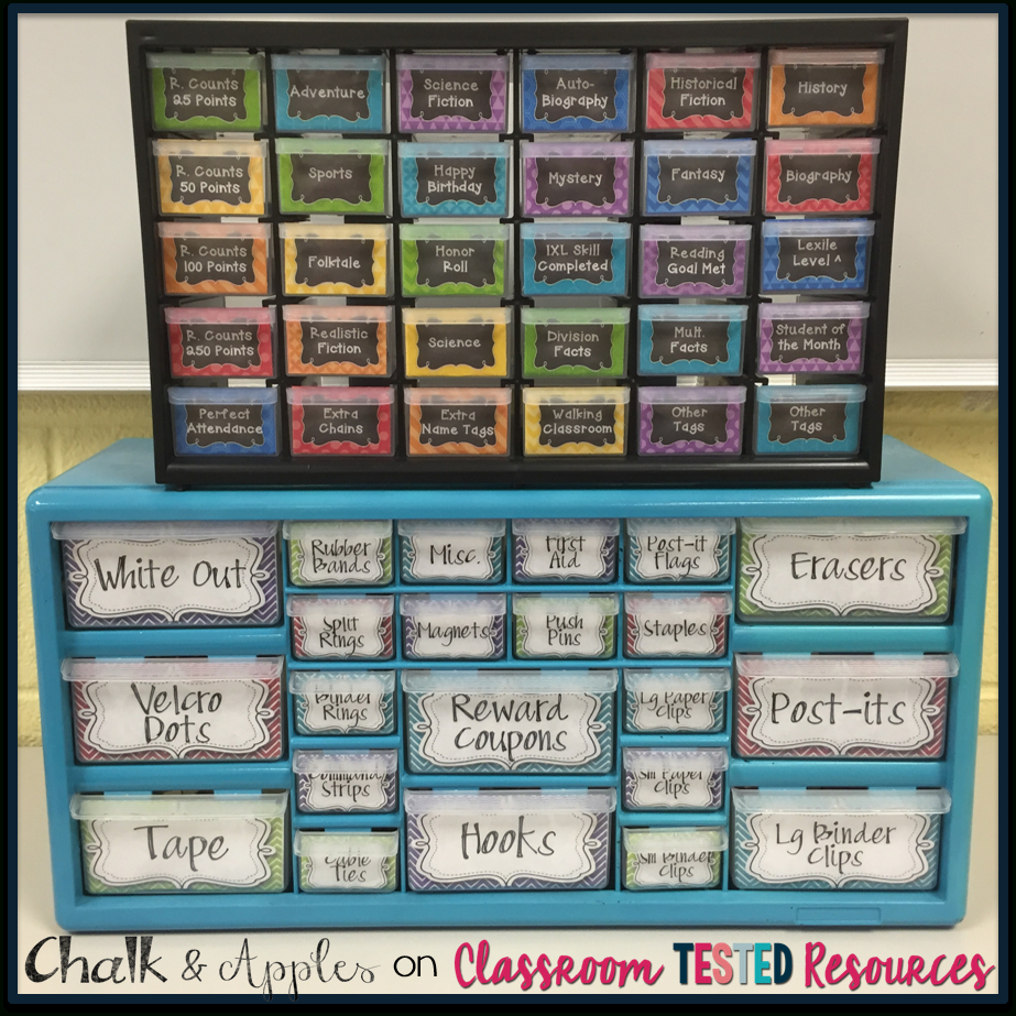Set Yourself Up For Organization {+ A Freebie!}   Classroom Tested - Free Printable Teacher Toolbox Labels