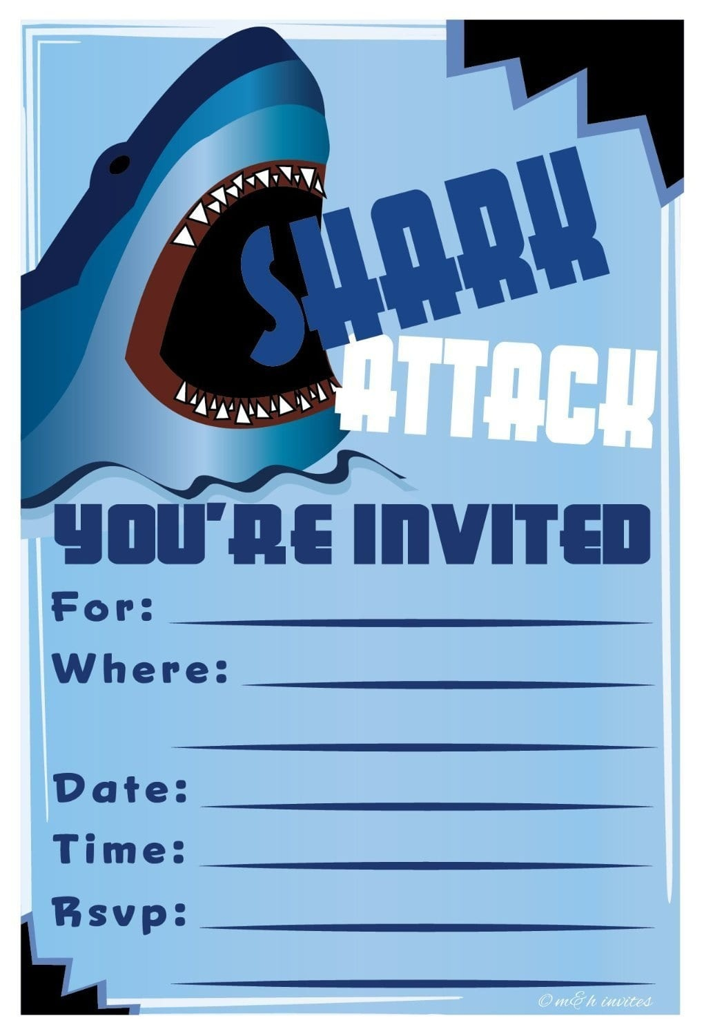 Shark Invitations Free Printable - Shark Invitations Free Printable