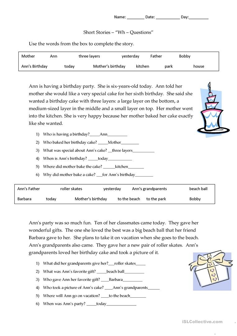 Short Stories Wh-Questions - Answers Worksheet - Free Esl Printable - Free Printable 5 W's Worksheets