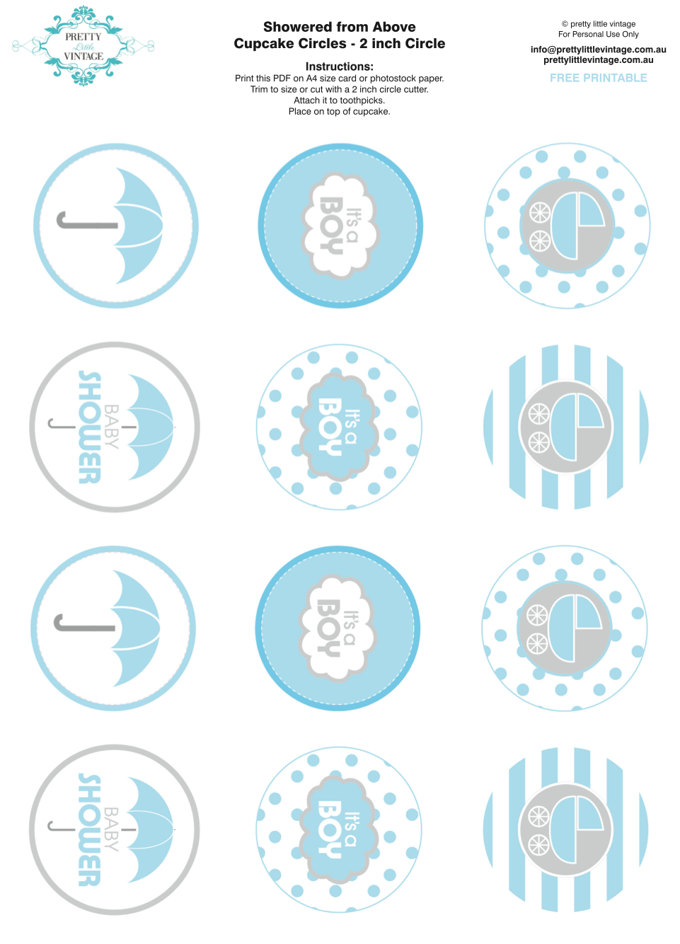 Showered From Above Rain Boy Baby Shower Printables Planning Ideas - Free Printable Party Circles