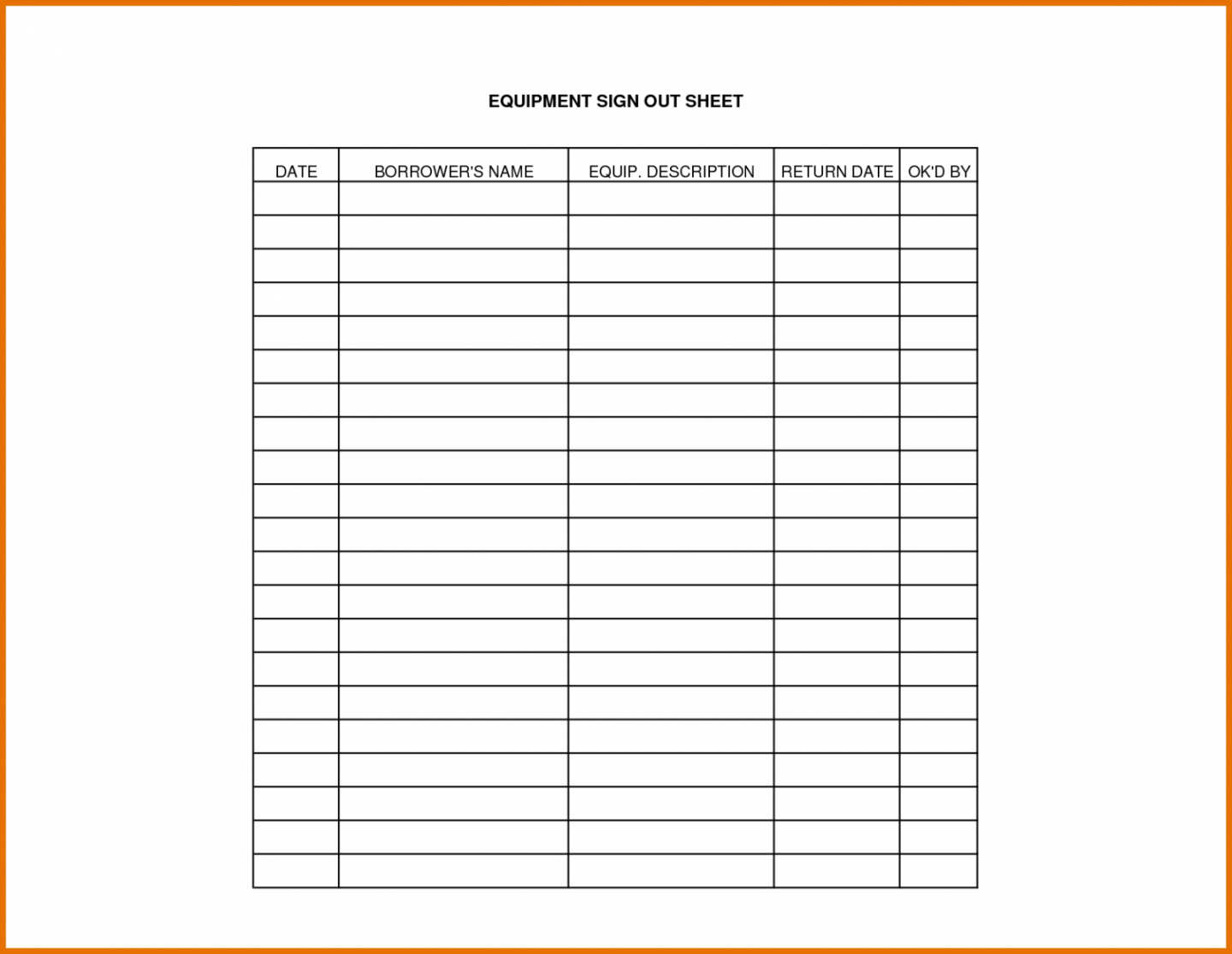 Sign Out Sheet Template For Equipment | Beconchina - Free Printable Sign In And Out Sheets