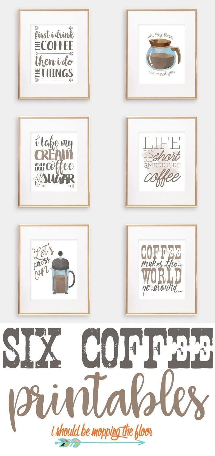 Six Coffee Printables   Printables   Coffee Bar Home, Coffee Nook - Free Printable Coffee Bar Signs