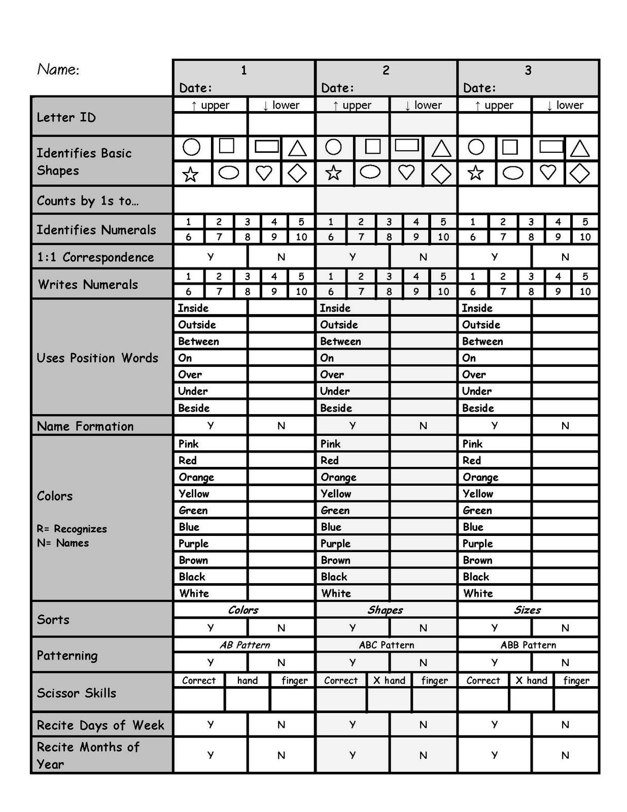 Skill Assessment | Printables | Evaluaciones Para Preescolar - Free Printable Pre K Assessment Forms