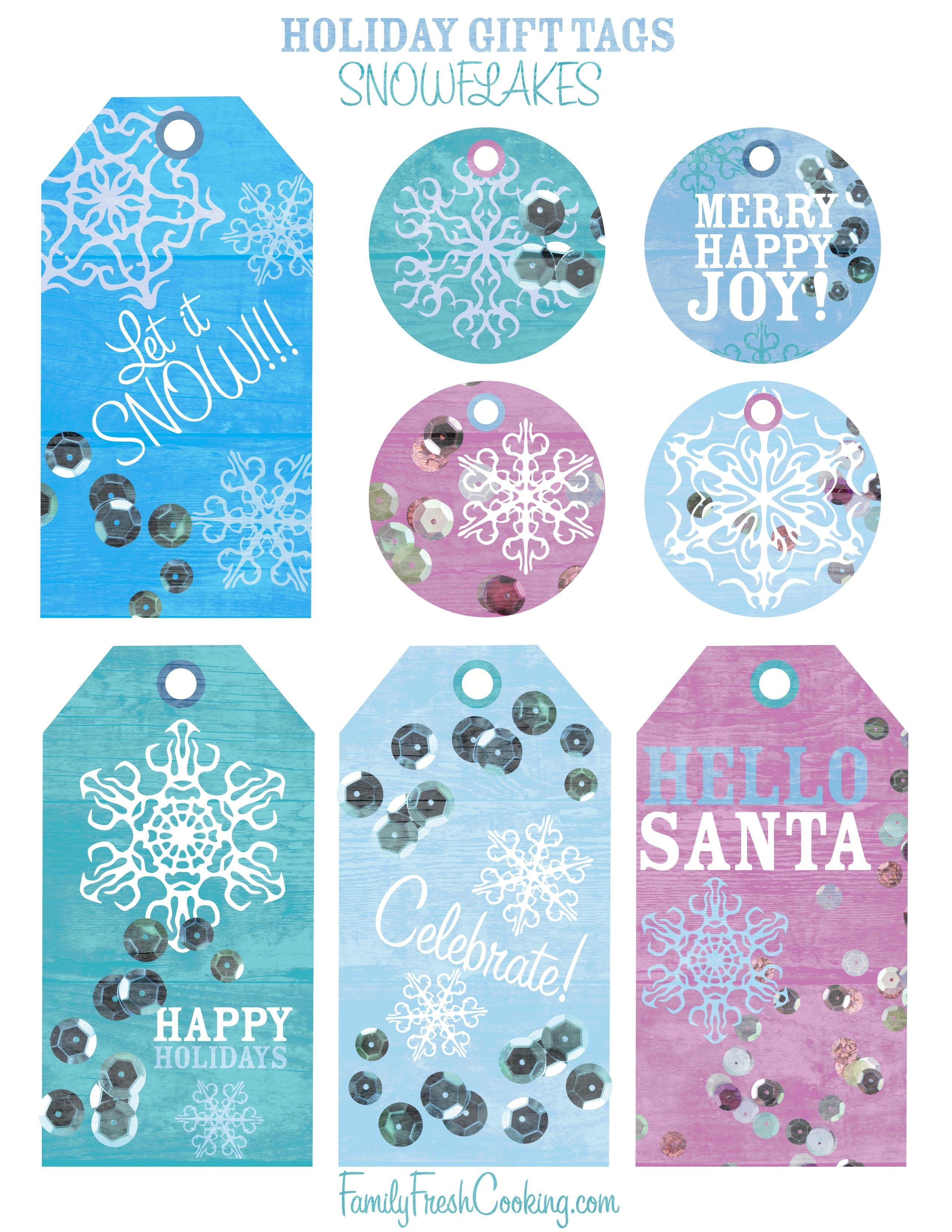 Snowflakes ~ Free Printable Holiday Gift Tags - Marla Meridith - Free Printable Holiday Gift Labels
