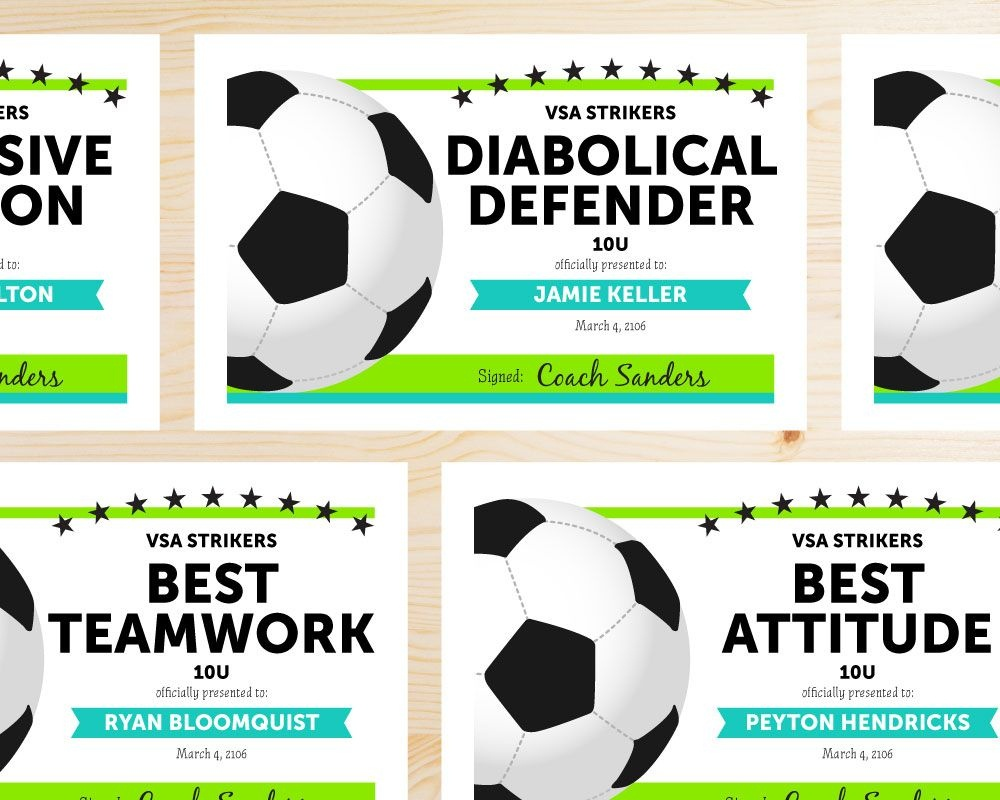 Soccer Award Categories | Ideas For The House | Soccer Training - Free Soccer Award Certificates Printable