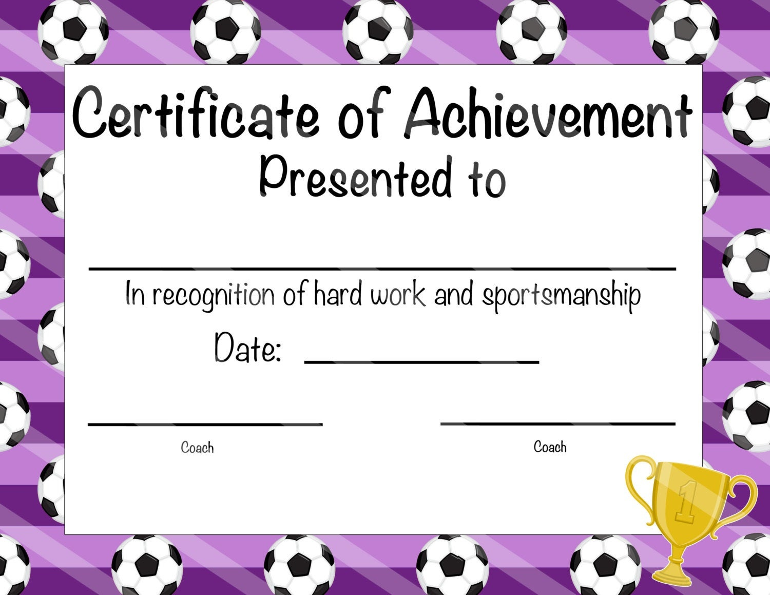 Soccer Certificate Of Participation Soccer Award Print At | Etsy - Free Soccer Award Certificates Printable