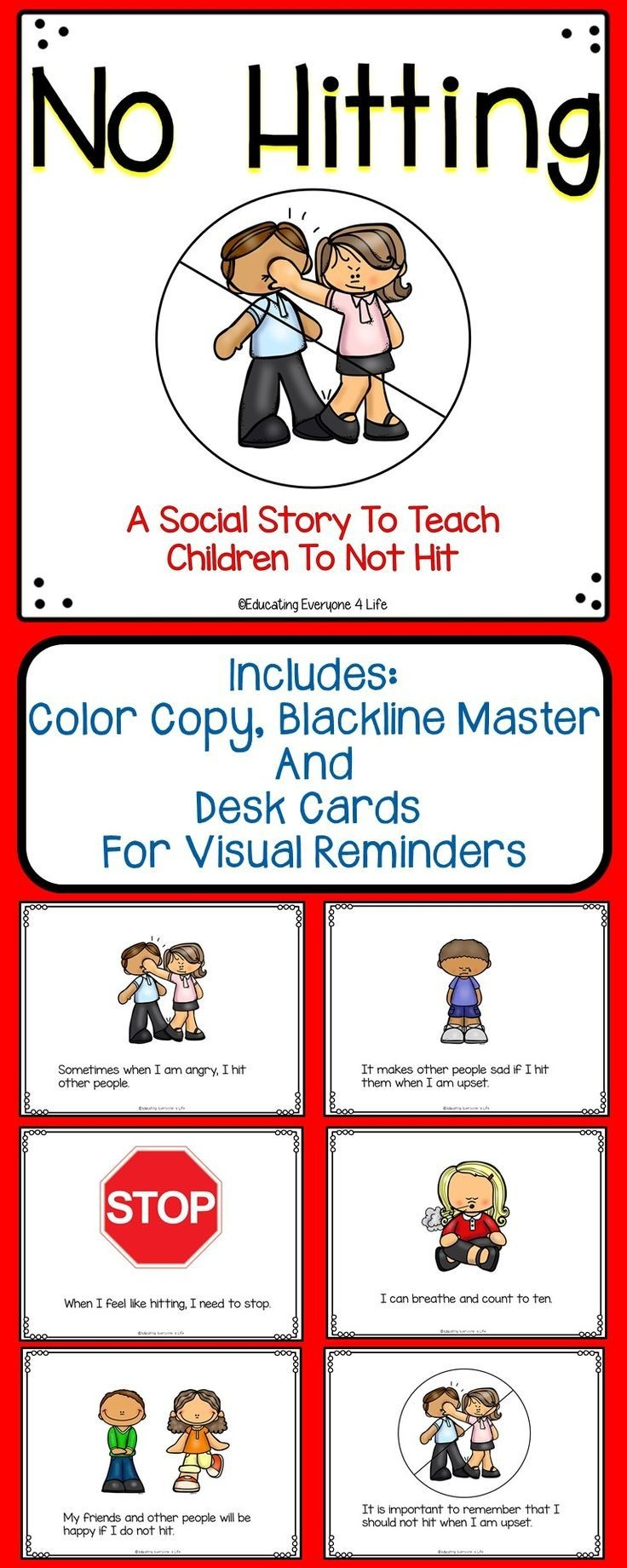 Social Story For Children - No Hitting | Classroom Management - Free Printable Social Stories Making Friends
