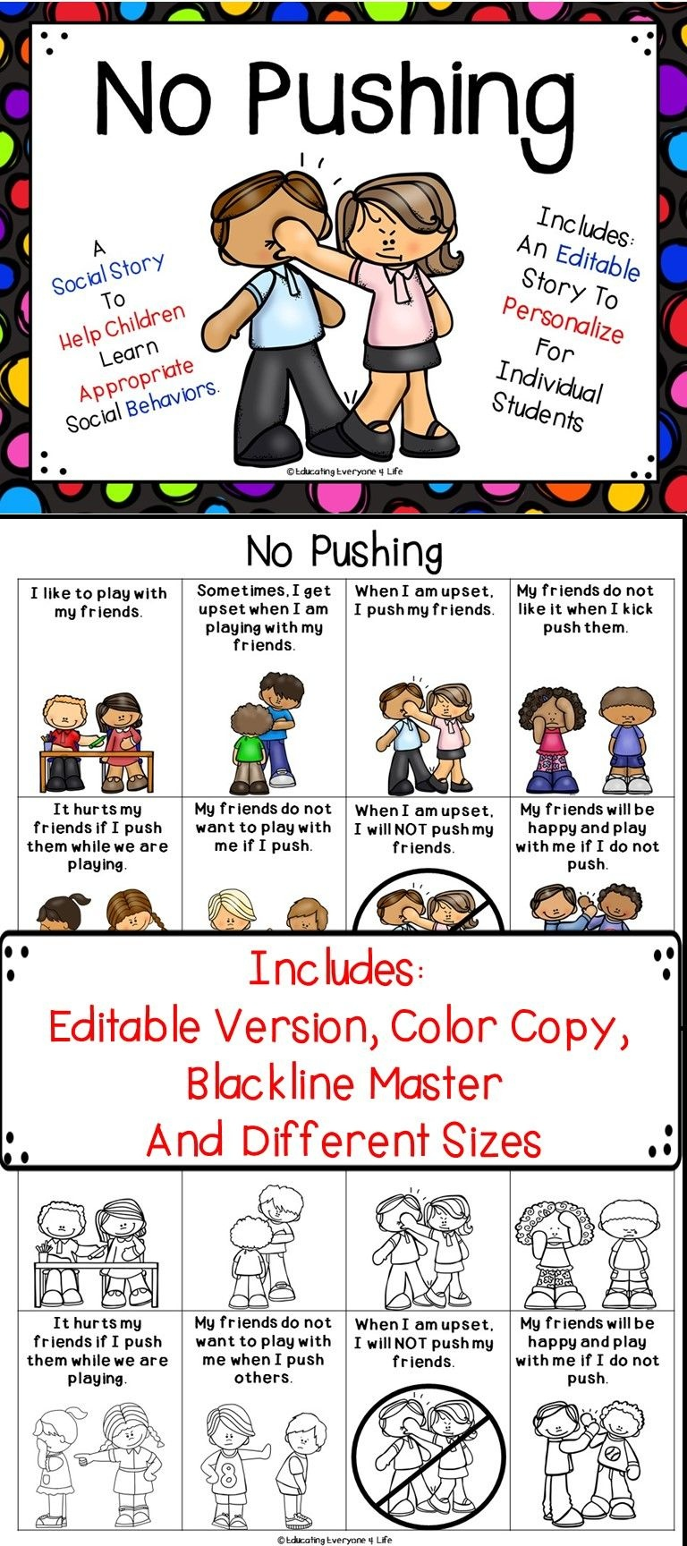 Social Story - No Pushing | All About Autism & Special Needs - Free Printable Social Stories Making Friends